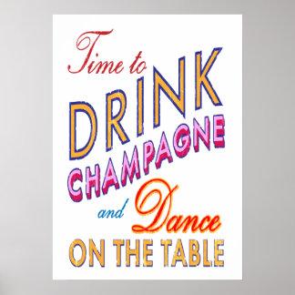 Tiempo del vintage para beber el poster de Champán