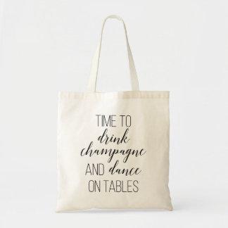 Tiempo elegante de la escritura para beber Champán Bolsa Tela Barata