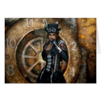 Tiempo gótico de los chicas para ahorrar Steampunk Tarjeta De Felicitación