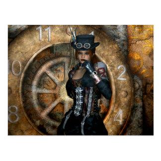 Tiempo gótico de los chicas para ahorrar Steampunk Tarjeta Postal