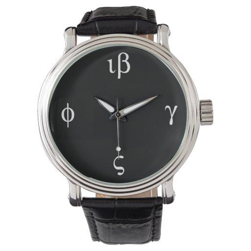 Tiempo griego - cara oscura reloj de mano