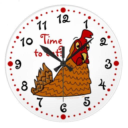Tiempo hambriento divertido del pollo para comer e reloj