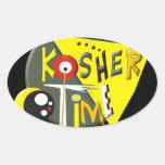 Tiempo kosher calcomanía de ovaladas