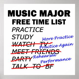 Tiempo libre importante de la música - chica póster