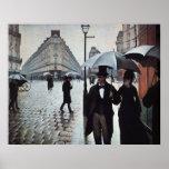 Tiempo lluvioso de la calle de París Posters
