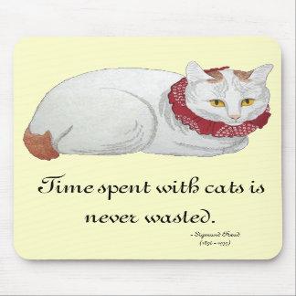 Tiempo Mousepad del gato Tapetes De Ratones