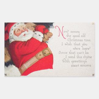 Tiempo Papá Noel del navidad Pegatina Rectangular