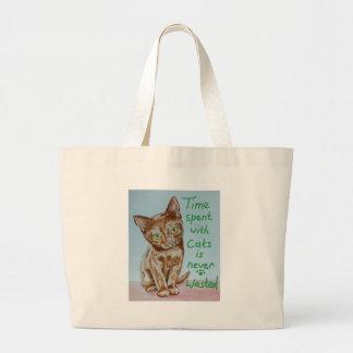Tiempo pasado con los gatos… bolsa tela grande