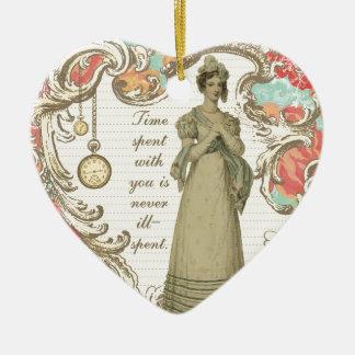 Tiempo pasado con usted adorno navideño de cerámica en forma de corazón