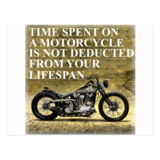 Tiempo pasado en una motocicleta tarjeta postal
