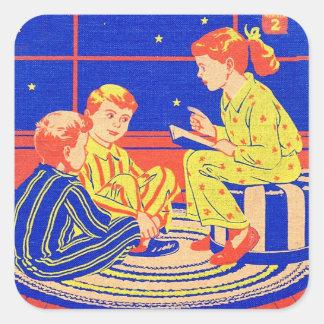 Tiempo retro de la historia del libro de niños del pegatina cuadrada