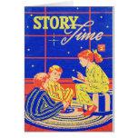Tiempo retro de la historia del libro de niños del felicitacion