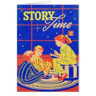 Tiempo retro de la historia del libro de niños del tarjeta de felicitación