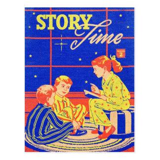Tiempo retro de la historia del libro de niños del tarjeta postal