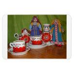 Tiempo ruso del té de la muñeca imanes rectangulares