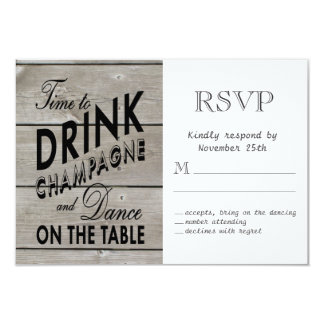 Tiempo rústico de RSVP para beber Champán Invitación 8,9 X 12,7 Cm
