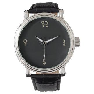 Tiempo sánscrito - cara oscura en piedra antigua relojes de mano