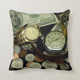 Tiempo y almohada de tiro del dinero cojín decorativo