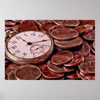 Tiempo y poster del dinero