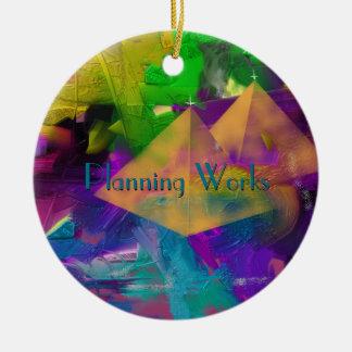 Tiempos de la pirámide personalizados con su texto adorno navideño redondo de cerámica