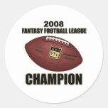 Tienda 2008 del campeón del fútbol de la fantasía pegatinas redondas