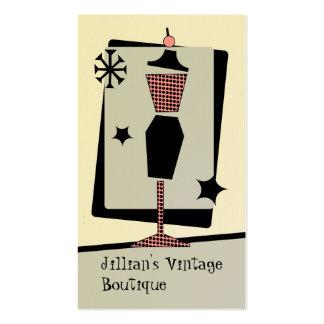 Tienda/boutique del vintage - forma del vestido tarjetas de visita