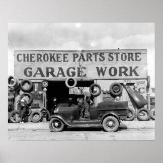 Tienda cherokee de las piezas, 1936. Foto del Póster
