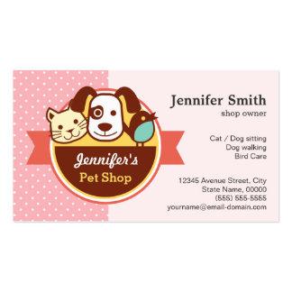 Tienda de animales - lunares rosados tarjetas de visita