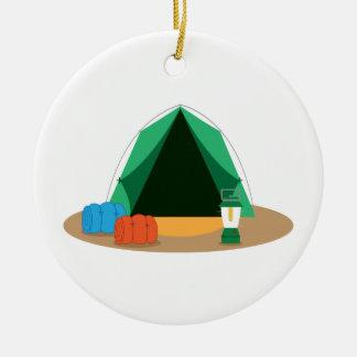 Tienda de campaña adorno navideño redondo de cerámica