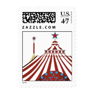 Tienda de circo del carnaval timbres postales