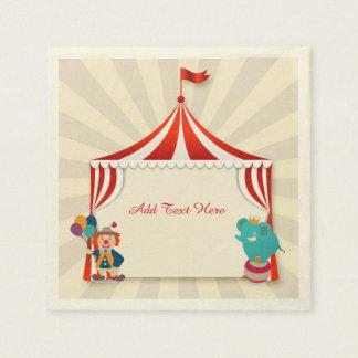Tienda de circo, ejecutantes servilletas de papel