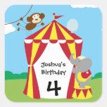 Tienda de circo y pegatinas del cumpleaños de los calcomanias cuadradas
