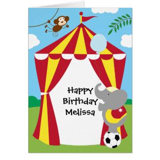 Tienda de circo y tarjeta de cumpleaños de los ani