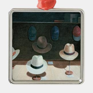 Tienda de gorra 1990 adorno navideño cuadrado de metal