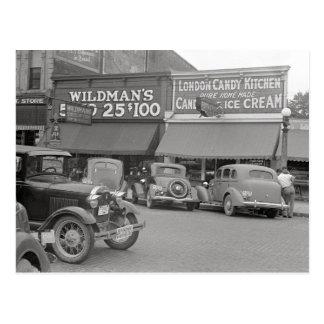 Tienda de helado del caramelo y 1938 postal