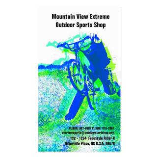 Tienda de la bicicleta o tienda de los deportes al tarjetas de visita
