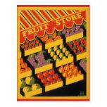 Tienda de la fruta del vintage postal