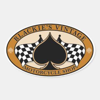 Tienda de la motocicleta del vintage de Blackie Pegatina Ovalada