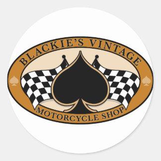 Tienda de la motocicleta del vintage de Blackie Pegatina Redonda