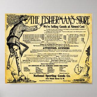 Tienda de la pesca del vintage e impresión de los posters