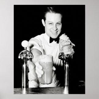 Tienda de la soda, 1936. Foto del vintage Póster