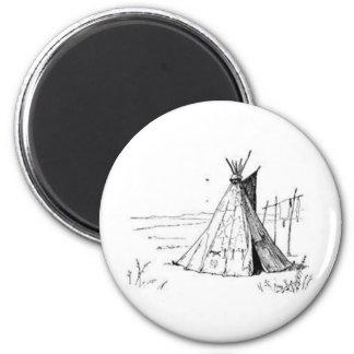 Tienda de los indios norteamericanos del nativo am imán redondo 5 cm
