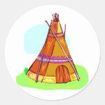 Tienda de los indios norteamericanos del nativo etiquetas redondas