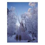 Tienda de los indios norteamericanos en invierno tarjeta postal