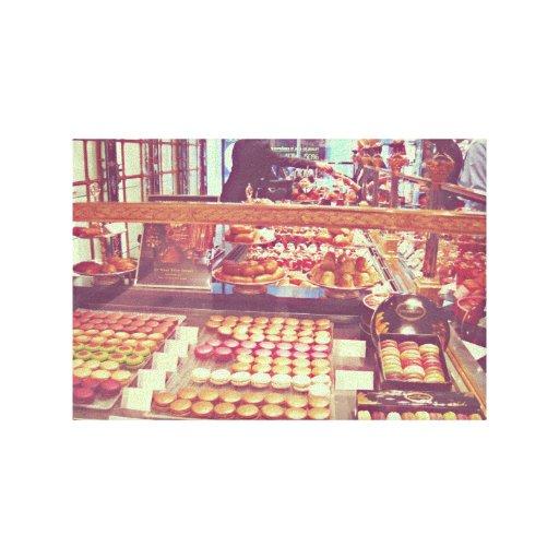 Tienda de los macarrones de Francia del vintage Impresiones En Lona Estiradas