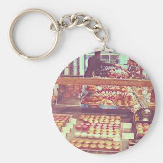 Tienda de los macarrones de Francia del vintage Llavero Redondo Tipo Pin