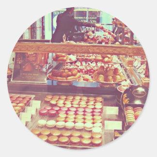 Tienda de los macarrones de Francia del vintage Pegatina Redonda