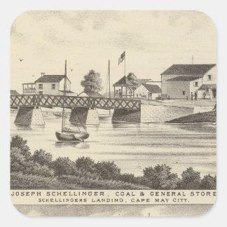 Tienda de Schellinger y casa del océano Pegatina Cuadrada