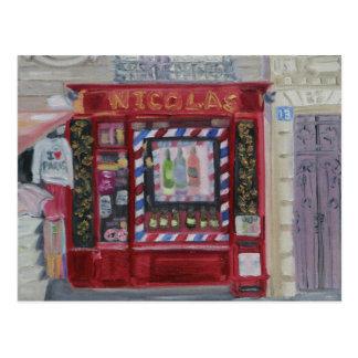 Tienda de vino de París Postal