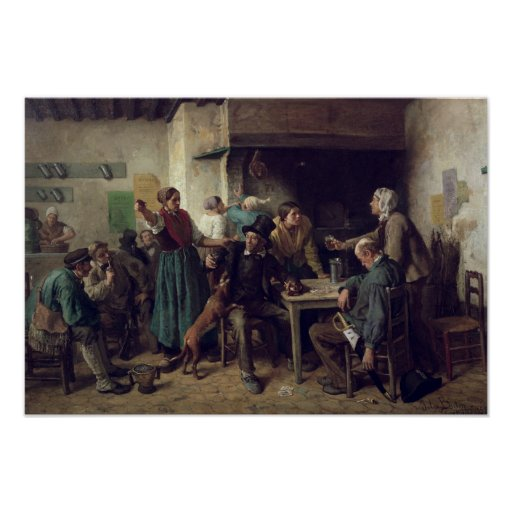 Tienda de vino lunes, 1858 póster